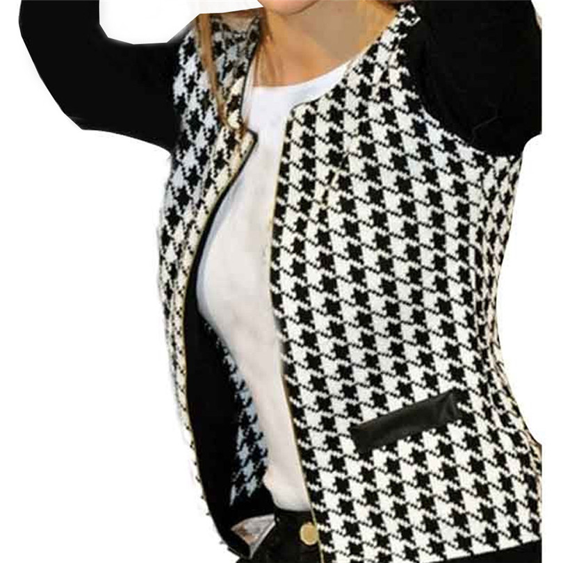 Fashion Houndstooth   Trench   Coat Long Sleeve Coat Female Zippers Pockets Winter Coat Outwaer Chaqueta Mujer Wholesale 50OR18