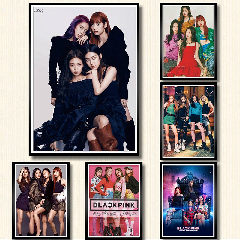 Kpop Black Pink Posters Wall Stickers White Coated Paper Prints painting Home Decoration Livingroom Bedroom Bar