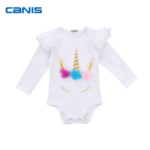a0383176cc Cute Newborn Infant Baby Girl Unicorn Romper Floral Long   Short Sleeve  Jumpsuit Summer Autumn Clothes Outfits