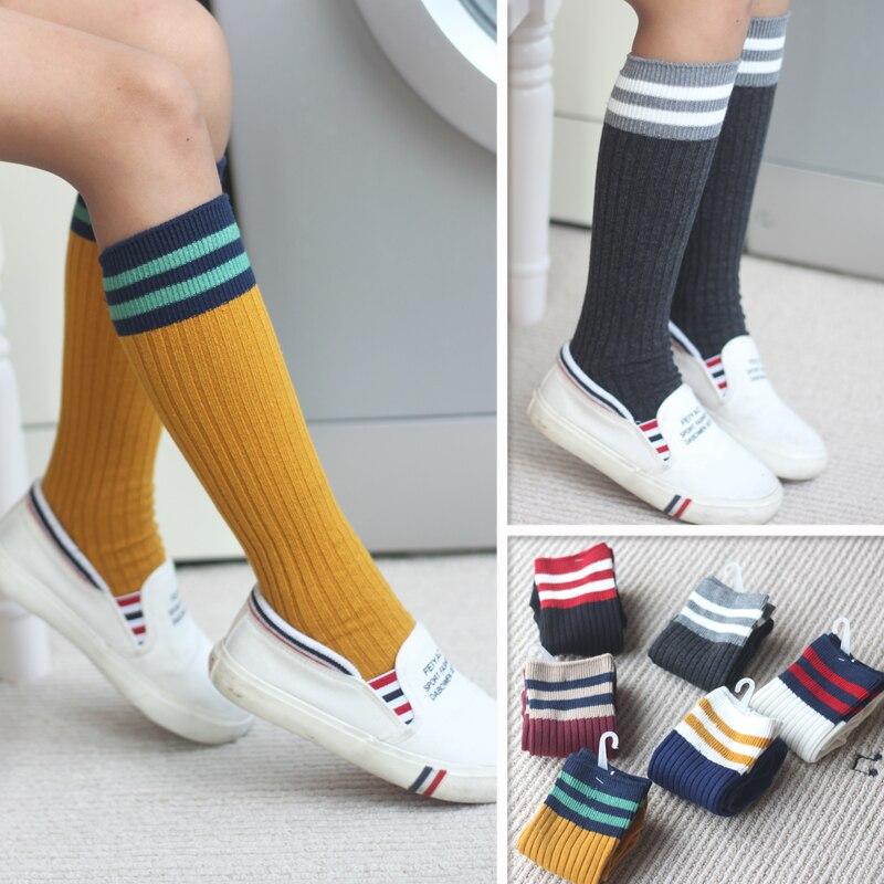 Winter autumn baby girls stockings striped school uniform socks cotton kids knee high socks for teenagers 5~12 years