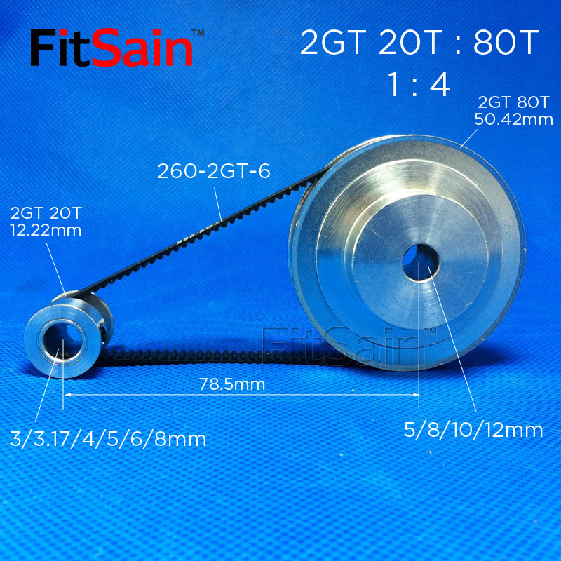 FitSain-2GT 20T:80T Aluminum Alloy Pulley 1:4 Reduction Ratio Drive Synchronous Wheel Center Hole 3.175/4/5/6/6.35/8/10/12mm