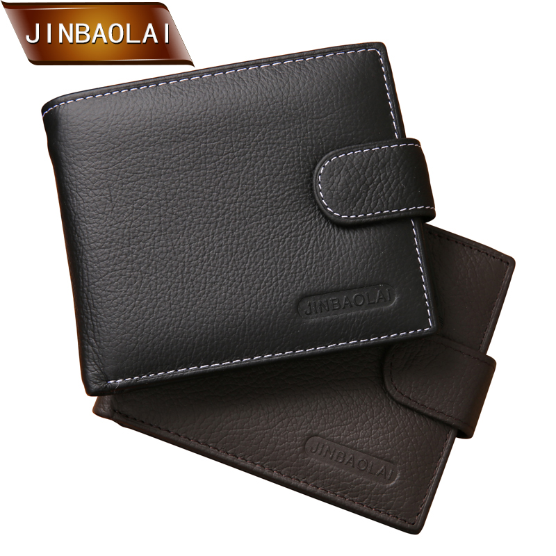 JINBAOLAI Men Wallets Genuine Leather Bifold Wallet Design Brand Casual Style Multifunction Male Card Holder With Coin Purse fashion genuine leather men wallets small zipper men wallet male short coin purse high quality brand casual card holder bag