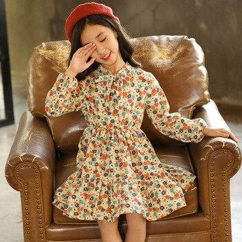 ee5f1e977acbfb5 2019 платье для маленьких девочек одежда для маленьких девочек хлопковые детские  платья с длинными рукавами и цветочным принтом для детей 3, 4,.