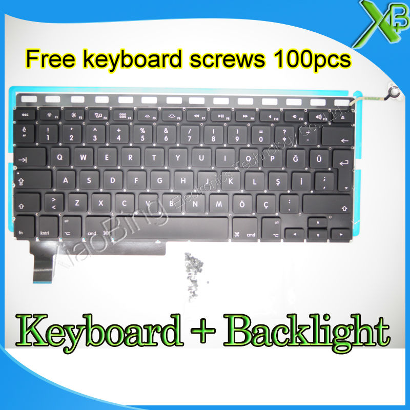 "Brand New For MacBook Pro 15.4 inch"" A1286 TR Turkish Turkey keyboard+Backlight Backlit+10keyboard screws 2009-2012 Years"""