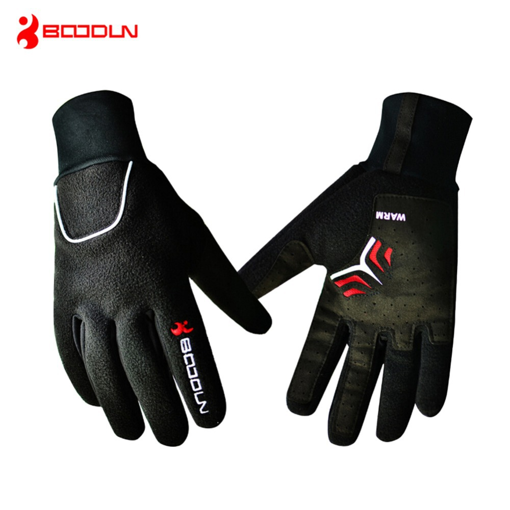BOODUN Windproof Fleece Bicycle Gloves Winter MTB Bike Thermal Guantes Ciclismo Bicicleta Luvas Men Full Finger Cycling Gloves spakct bike cycling men s gloves winter full finger gloves bike bicycle guantes ciclismo racing outdoor sports black new motor