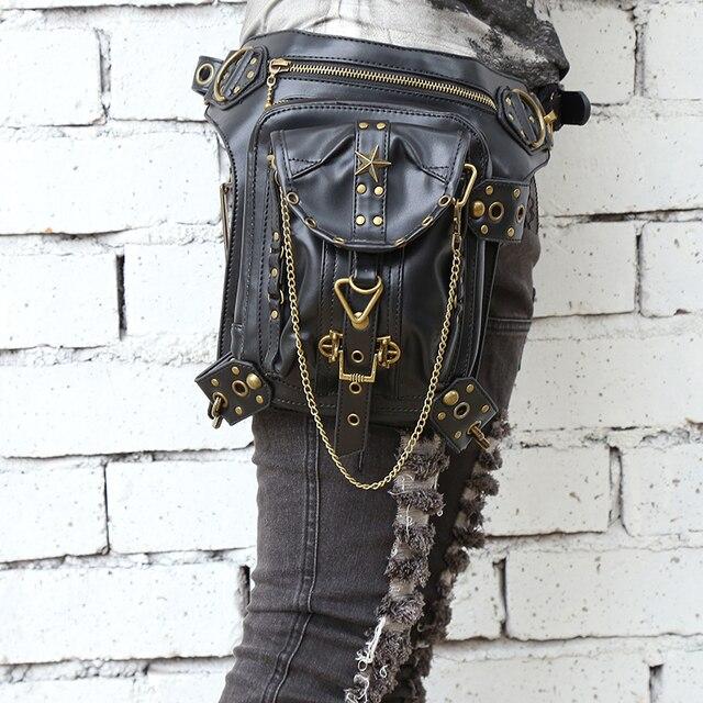 Saco do mensageiro do vintage 2016 das mulheres bolsa saco de ombro da forma do punk do vapor retro rocha pacote de cintura pequena bolsa de perna