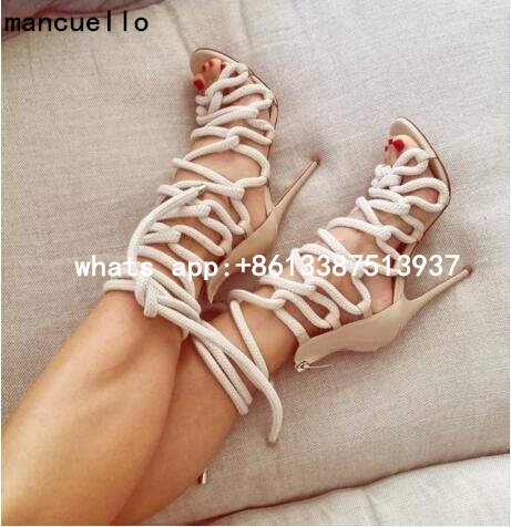 2017 New Fashion Women White Blue Cross Lace Up Cuts Out Gladiator Zip Back Thin Heels High Heel Dress Sandals Big Size 43 Party