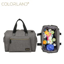 COLORLAND brand solid color shoulder bag Mummy outdoor travel diaper baby maternal storage waterproof care backpack