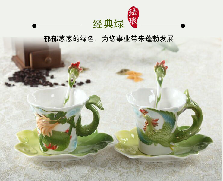 2018 New Style China Cup Enamel Porcelain Coffee mugs Dragon and Phoenix cup tea set Bone China porcelain cup for birthday gift