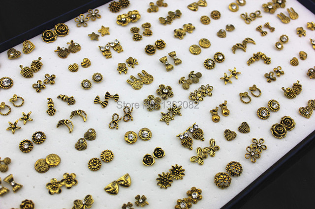 Whole Lot 100 Pairs Mixed Design Antique Gold Owl Flower Heart Crystal Stud