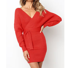 f160bb1041 (Ship from US) long sleeve v neck knitted dress women casual sash autumn  winter sweater dress female sexy elegant wrap pullover dress vestido