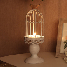 European retro desktop birdcage candlesticks birds Iron crafts do the old crafts wedding ornaments birthday gifts
