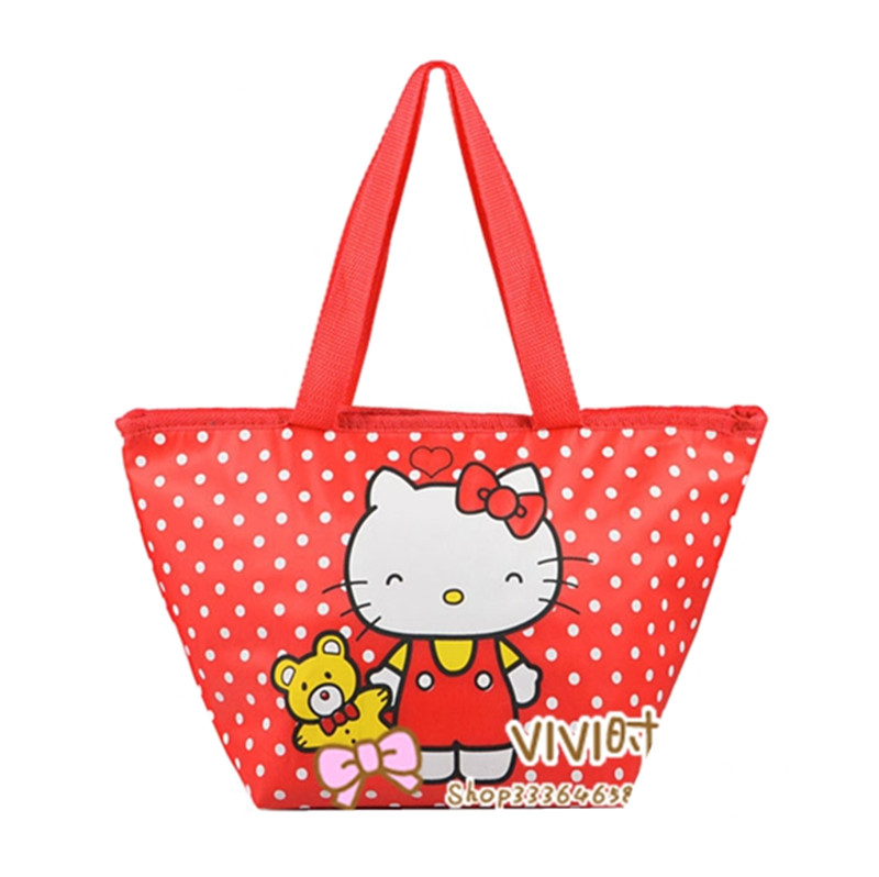 0e2a6c910399 Cute Hello Kitty Red Polka Dot Insulated Lunch Bags for Kids School Women  Girls Thermo Thermal Cooler Bag Tote Picnic Food Bag -in Lunch Bags from  Luggage ...