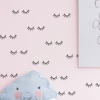 Cute eyelash pattern Wall decal removable Vinyl Wall Stickers For Kids Room Lovely Sleepy Eyes Baby Nursery Wall Art Home Decor