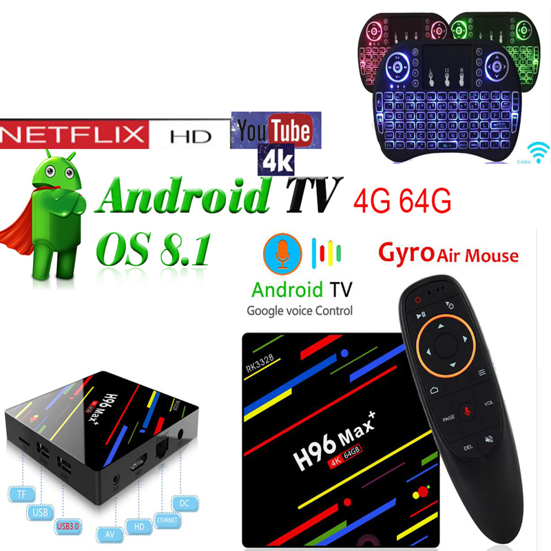 H96 MAX plus 4GB 64GB VOICE optional i8 air mouse  RK3328 Android 8.1 TV Box2.4/5 GHz Wifi H.265 Smart TV BOX H96 MAX plus 4GB 64GB VOICE optional i8 air mouse  RK3328 Android 8.1 TV Box2.4/5 GHz Wifi H.265 Smart TV BOX