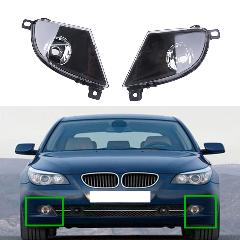 ФОТО 2Pcs Auto Exterior Front Fog Driving Lamp without Light Bulb Included Lights Assembly For BMW E60 E61 528i 535i 2007 - 2010 C/5