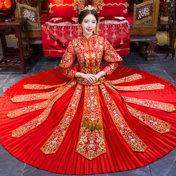 Chinese Bride Pleated Dress Classic Ancient Royal Women Marriage Coat+Skirt Cheongsam Suit Oriental Style Wedding Qipao S-XL