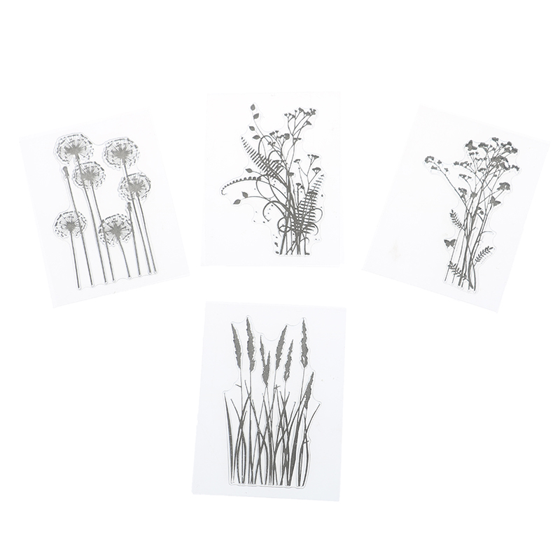 DIY Silicone Flower Grass Transparent Silicone Clear Stamps Inkpad Stamper Accessories For Scrapbooking Photo Album Painting Toy