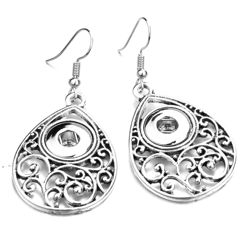 Retro Charm metal Snap Button Earring Female Fashion DIY Jewelry (fit 12mm Snap) TZ72 image