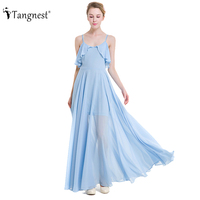 TANGNEST Women Big Swing Maxi Dress 2017 Summer Beach Solid Slim Chiffon Solid Color Bohemian Style