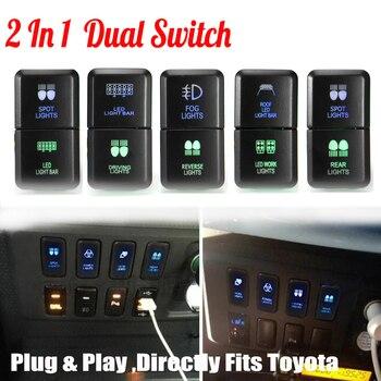 12 V Mobil Auto Dual LED Light Bar On-Off Saklar Tekan Bekerja Lampu Kabut Lampu Tombol Switch untuk Toyota Prado Hilux Land Cruiser