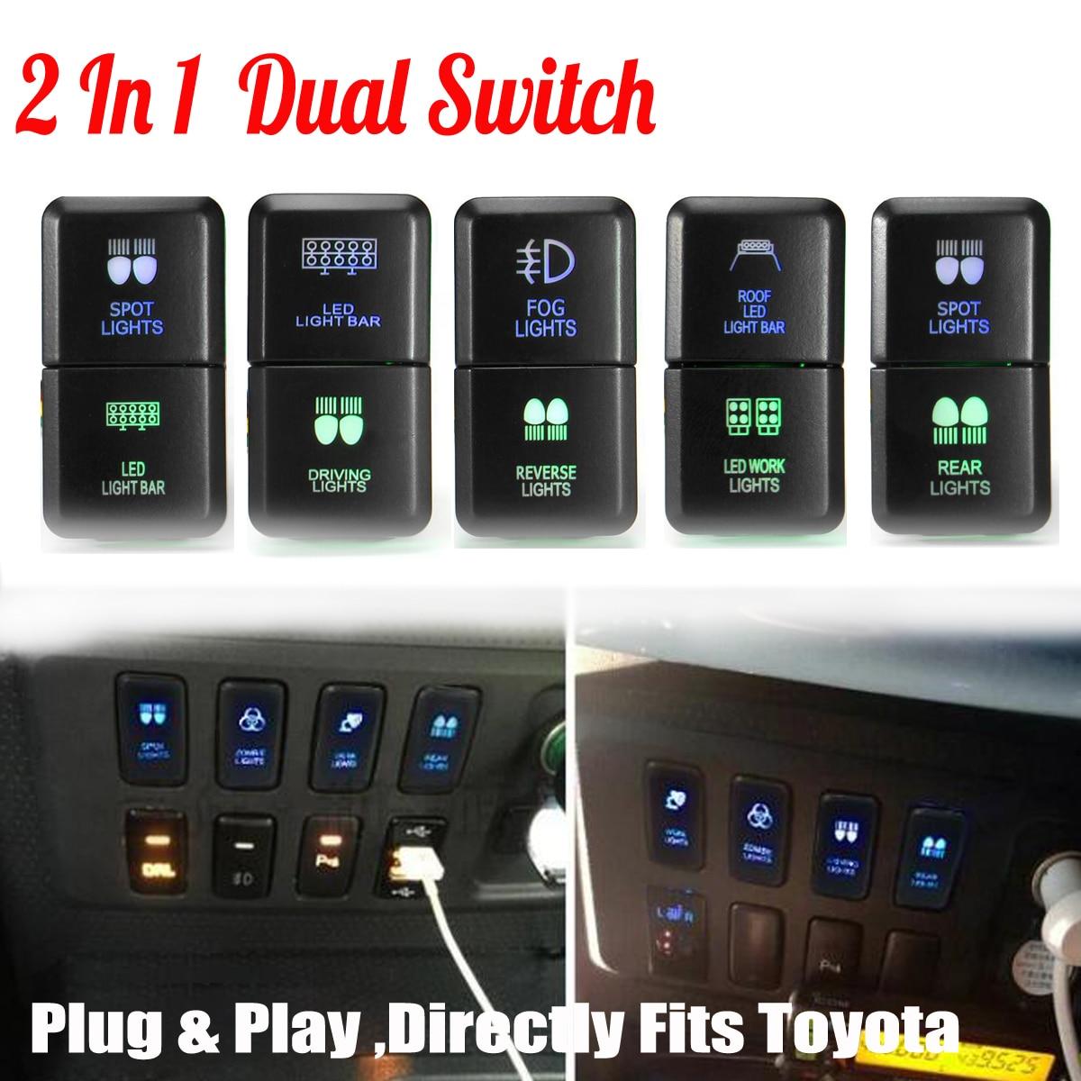 12V Car Auto Dual LED Light Bar On-Off Push Switch Work Fog Light Spot Light Button Switch For Toyota Prado Hilux Landcruiser car fog light switch with red led indicator 12v
