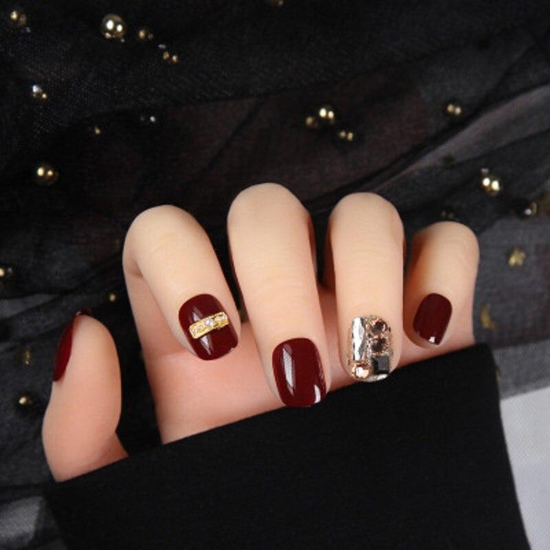 24 pcs elegante brilhante diamante vento vermelho arcylic falso unhas dicas manicure ferramenta curto cobertura completa