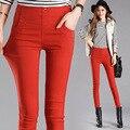 La primavera y el verano delgado de la mujer de pantalones lápiz colores del caramelo pantalones chicas de estiramiento pantalones elásticos grandes tamaño ocio thin pantalones 3XL