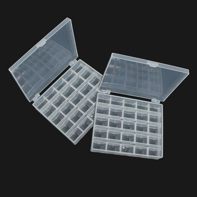 2pcs/set Plastic Tool Box Case Translucent Sewing Machine Spools 25 Grid Organizer Box For Sewing Machine Toolbox