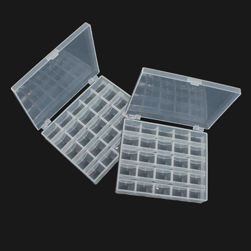 2pcs/set Plastic Tool Box Case Translucent Sewing Machine Spools 25 Grid Organizer Box For Sewing Machine Toolbox