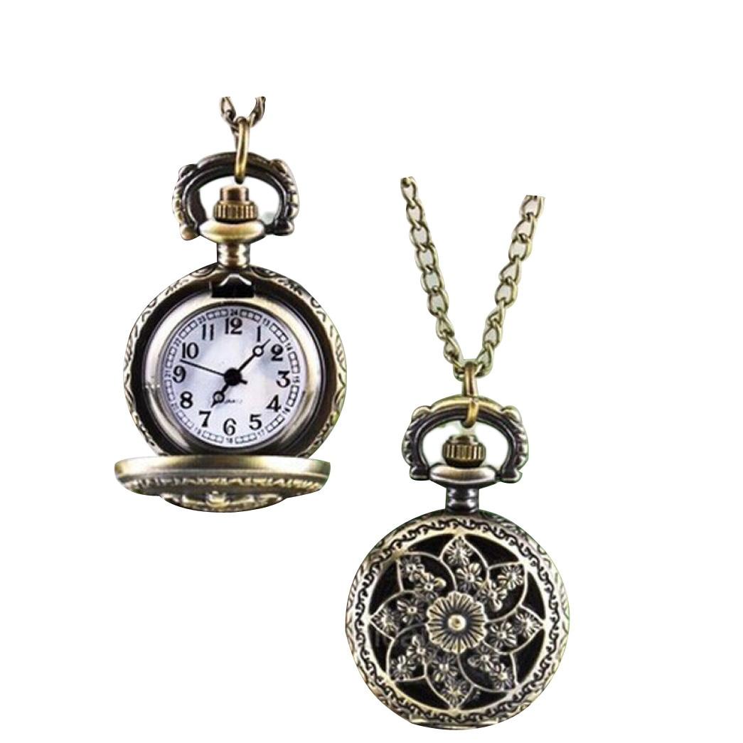 2018 Hot NEW Fashion Vintage Retro Bronze Quartz Pocket Watch Pendant Chain Necklace Freeshipping 15p106