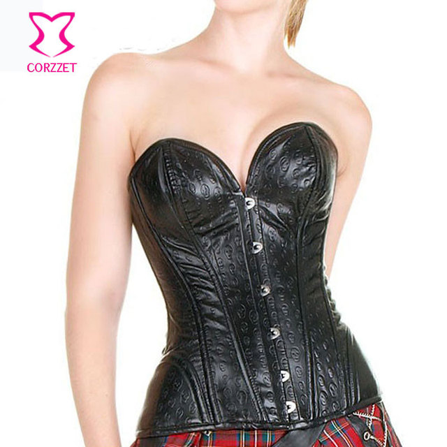 93c4425c12d Steampunk Black Faux Leather Gothic Corset Skull Basque Bustier Sexy Steel  Boned Overbust Waist Slimming Corsets