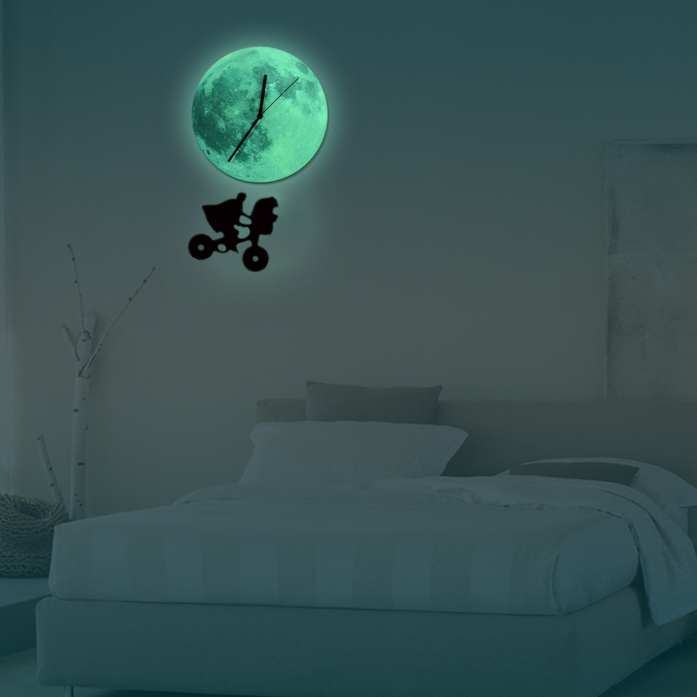 Funlifetm glow in the dark moon wall clock funlife diy luminous funlifetm glow in the dark moon wall clock funlife diy luminous moon wall clock pendulum night fashion beautiful glowing in wall clocks from home amipublicfo Images