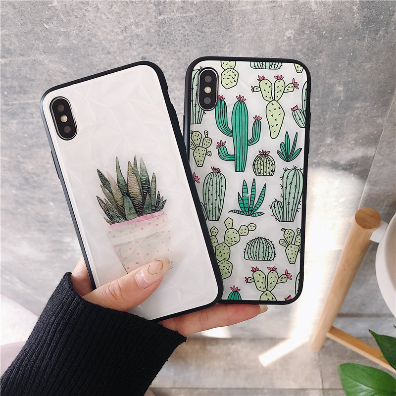 Diamond Texture Phone Case For iPhone X XR XS Max 6 6s 7 8 Plus simple cute cactus coque Luxury Ultra Thin acrylic back cover