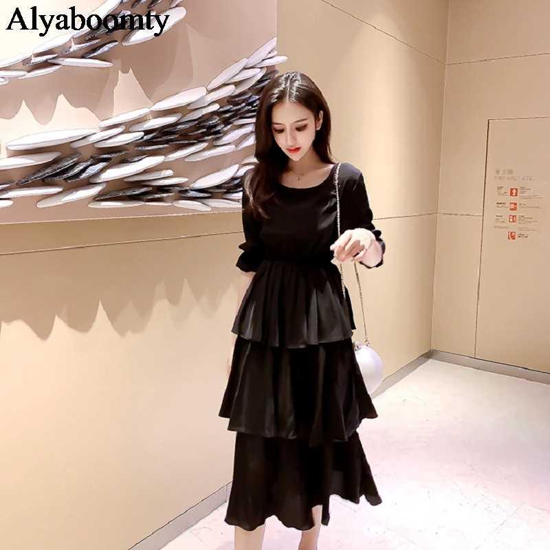 Корейское стильное летнее женское длинное многослойное платье, белое черное многослойное романтичное платье с оборками, элегантные вечерние платья средней длины с завышенной талией