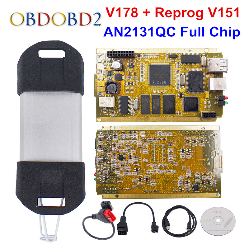 Newest Can Clip V178 Gold Full Chip SYPRESS AN2131QC Reprog V151 OBD2 Diagnostic Interface For Cars 1998-2017 Free Ship