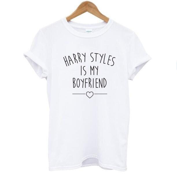 HARRY STYLES IS MY BOYFRIEND Letters Print T Shirt Tops Women Short Sleeve O