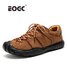 Купить с кэшбэком Natural Leather Shoes Men High Quality Comfort Casual Shoes Flats Handmade Footwear Nonslip Rubber Men Shoes Dropshipping