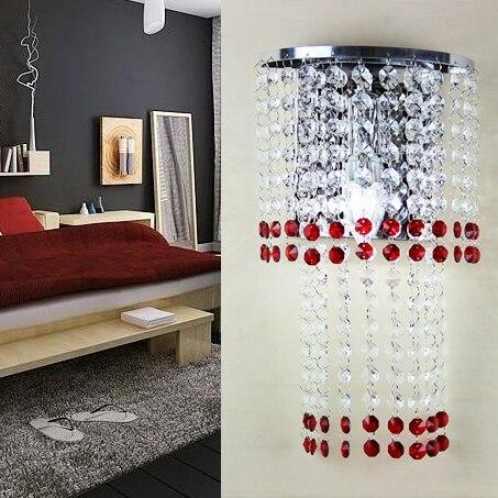 Rosso di Lusso di cristallo Lampade Da Parete, camera da letto ...