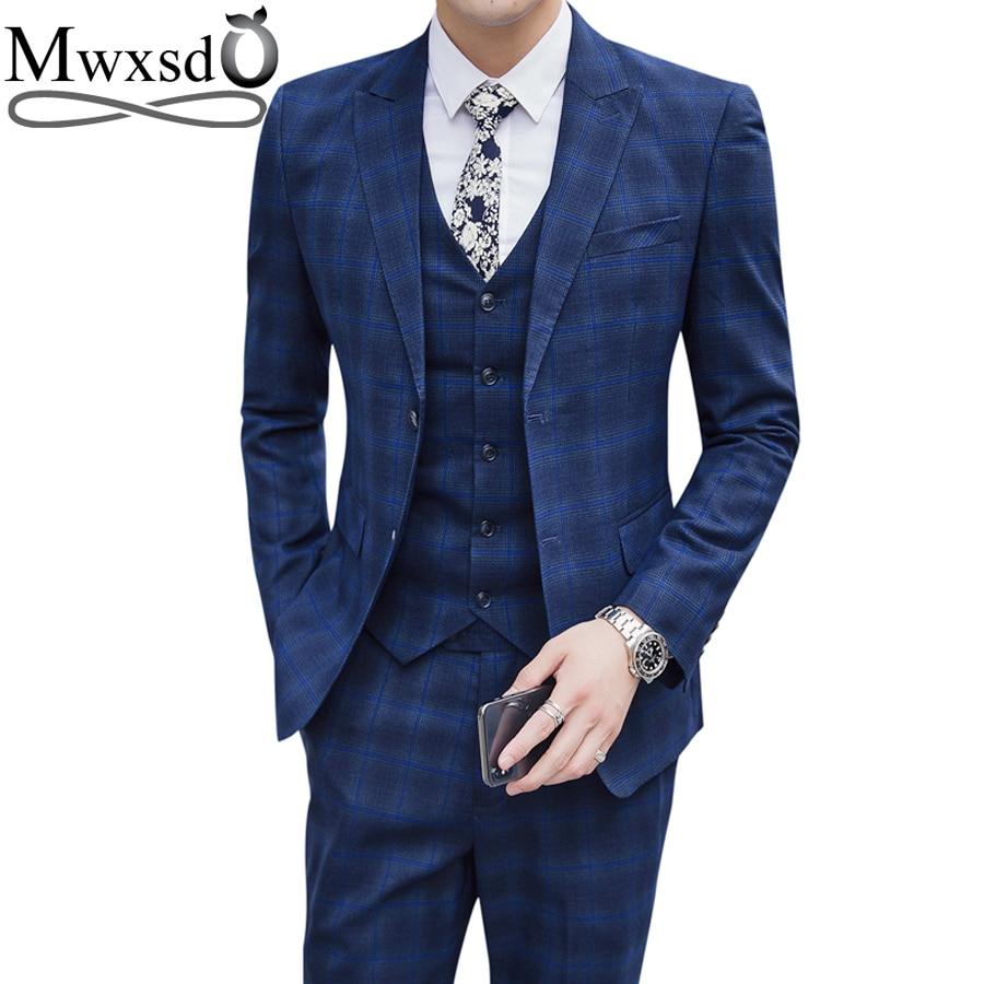 Mwxsd Casual Mens Plaid Suits Set Men Tuxedo Formal Wedding Suits 2019 New Brand Design Plaid Blazer Jacket And Business Trouser