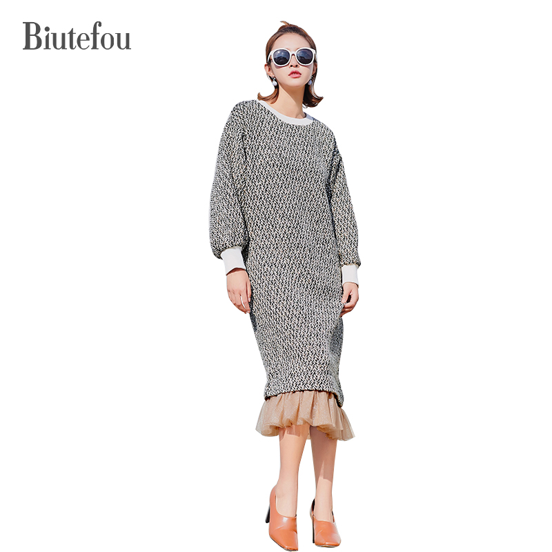 2017 New arrival winter o-neck gauze patchwork knitted wool dresses women fashion ruffles dresses adidas original new arrival official neo women s knitted pants breathable elatstic waist sportswear bs4904
