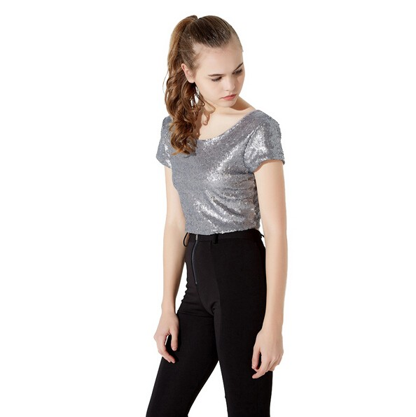 New Fashion Women Crop Top Bling Shirts Open Back Round Neck Women ... 88be07e7efcb