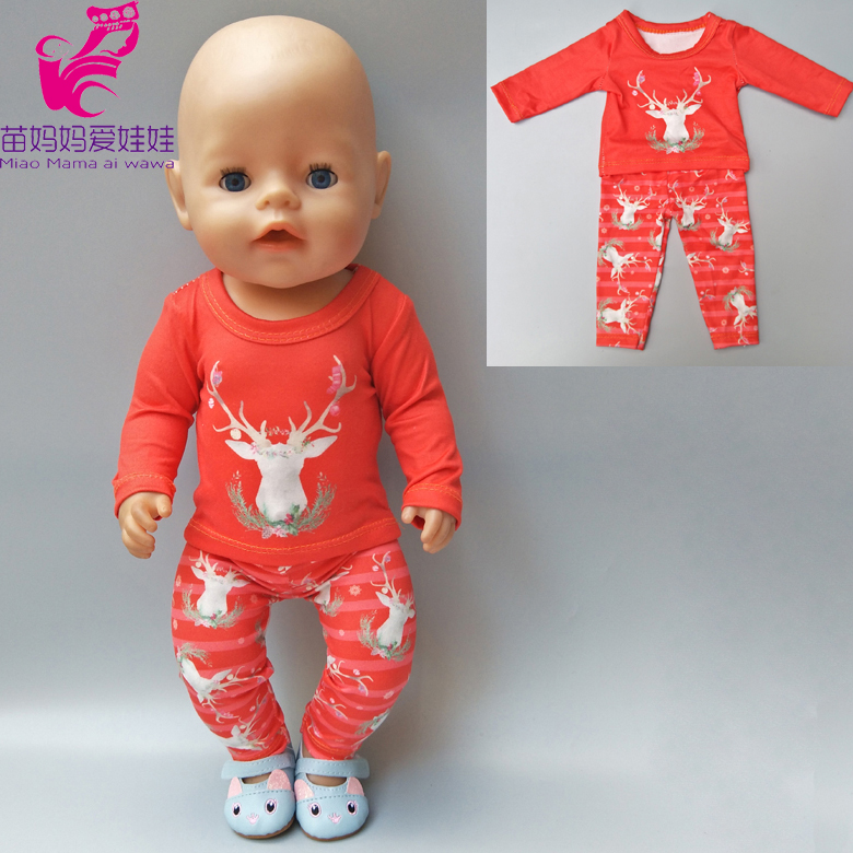 все цены на For 18 inch doll clothes reindeer set for 43cm baby born doll clothes pants for doll baby girl new year gifts онлайн
