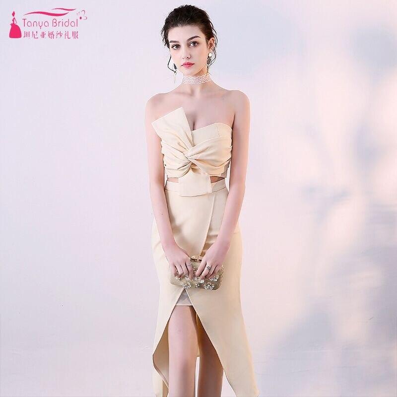 TANYA BIRDAL une ligne haut court beige longue longueur de thé robes de demoiselle d'honneur 2019 nouvelle Simple sirène mariage invité robe de soirée JQ376