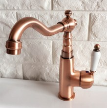 цена на Antique Red Copper Brass Bathroom Kitchen Basin Sink Faucet Mixer Tap Swivel Spout Single Handle One Hole Deck Mounted mnf409