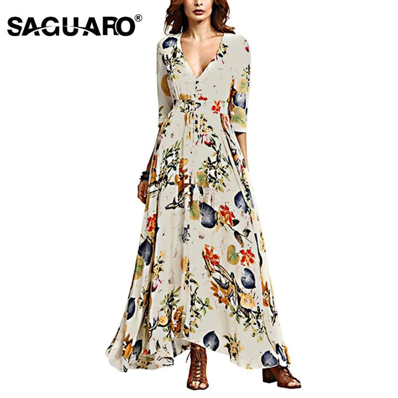 Summer Dress Women Floral Maxi Dress Robe Femme Sexy V Neck Boho Beach Dress Elegant Party Long Dresses Vestidos Verano 2018