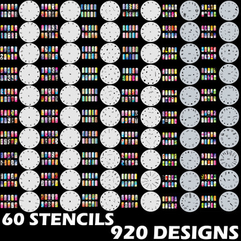 920 DESIGNS Airbrush Nail Art STENCIL Template Kit Paint stamp tool stamping plate image manicure plates Paint 60 Sheets /lot