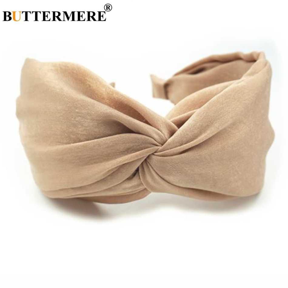 Жёлтая повязка для волос BUTTERMERE для женщин, однотонные повязки на голову, широкие повязки на голову, старинный головной убор, бархатные резинки, корейские аксессуары для волос