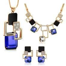 Rhinestone & Crystal Acrylic – Necklace, Long Pendant & Earrings Jewellery Set