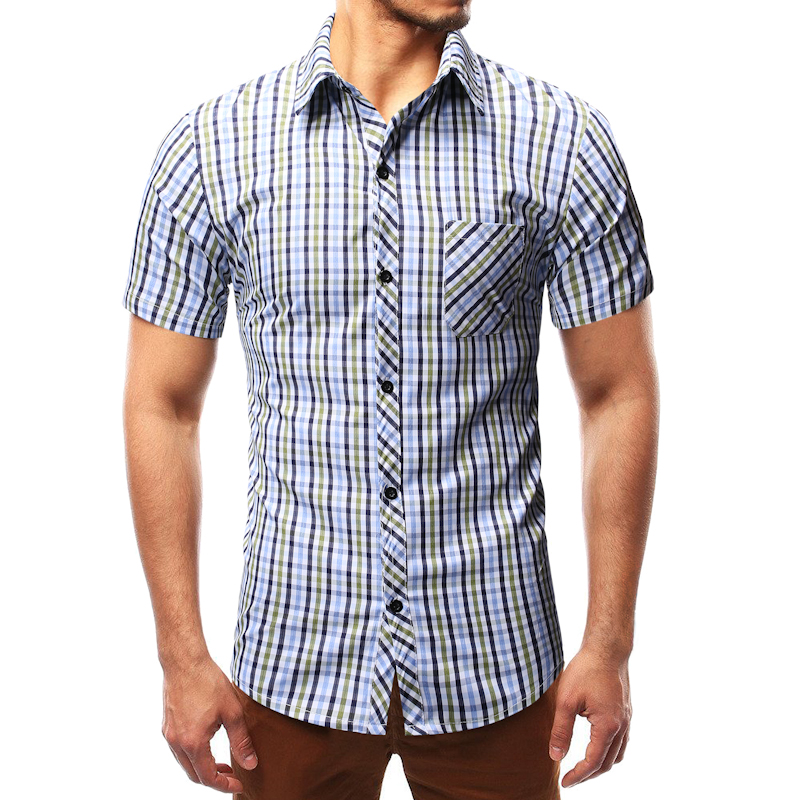 Casual Men's Plaid Shirt Business Thin Short Sleeve Social Shirt Male Single-Breasted Blouse Plus Size M-3xl